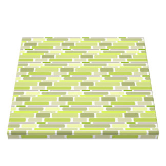 Trendy Green Retro Blocks Stretched Canvas Print