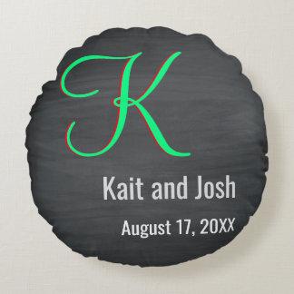 Trendy Green Script Rustic Chalkboard Monogram Round Cushion