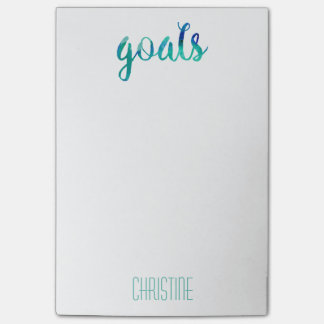 Trendy Green Watercolor Goals Personalized Stylish Post-it® Notes