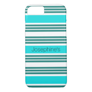Trendy Green & White Striped Personalized iPhone 8/7 Case