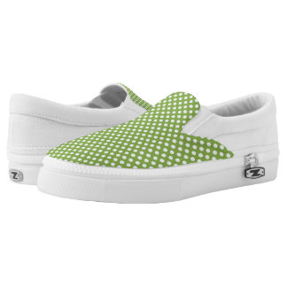 Trendy Greenery and White polka dots pattern Printed Shoes