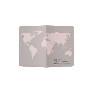 TRENDY GREY BLUE BLUSH PINK ROSE GOLD WORLD MAP PASSPORT HOLDER