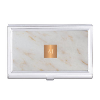 Trendy grey marble metallic copper square monogram business card holder