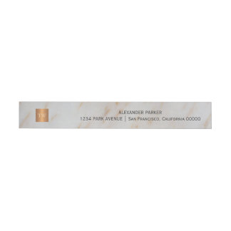 Trendy grey marble metallic copper square monogram wraparound address label