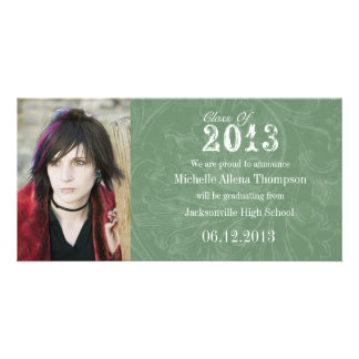 Trendy Grunge Green Graduation Announcement Photo Cards