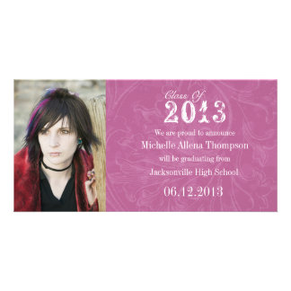 Trendy Grunge Pink Graduation Announcement Customized Photo Card