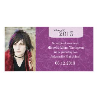 Trendy Grunge Purple Graduation Announcement Photo Cards