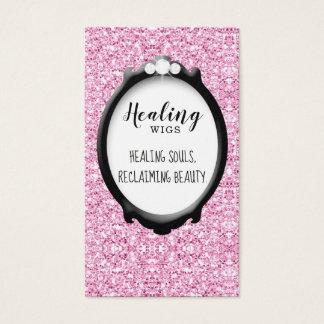 Trendy Hair Salon Frame Glitter Pink Business Card