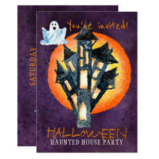 Trendy Halloween watercolor haunted house party Card