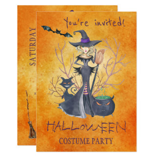 Trendy Halloween watercolor witch costume party Card