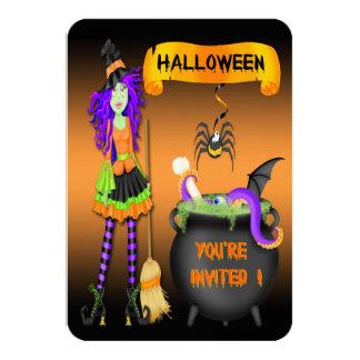 "Trendy Halloween Witch Cauldron 3.5""x5"" Invitation"