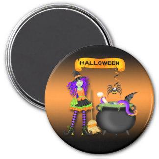 Trendy Halloween Witch Cauldron Round Magnet