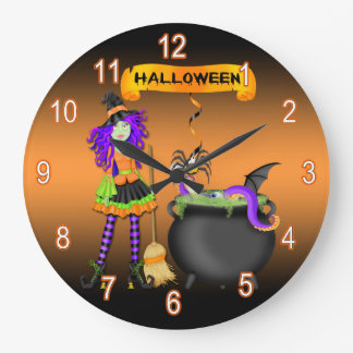 Trendy Halloween Witch Cauldron Round Wall Clock