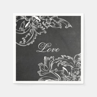 trendy hand drawn floral black board chalk effects disposable napkin