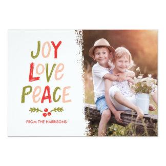 Trendy Hand Lettered Joy Love Peace Christmas Card