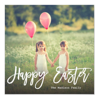 Trendy Hand Lettered Script | Easter Photo 13 Cm X 13 Cm Square Invitation Card