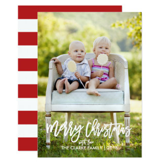 Trendy Hand Lettered   Vertical Holiday Photo Card 13 Cm X 18 Cm Invitation Card