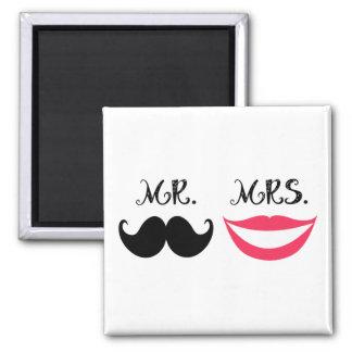 Trendy Handlebar Mustache Mr. & Mrs. Magnet