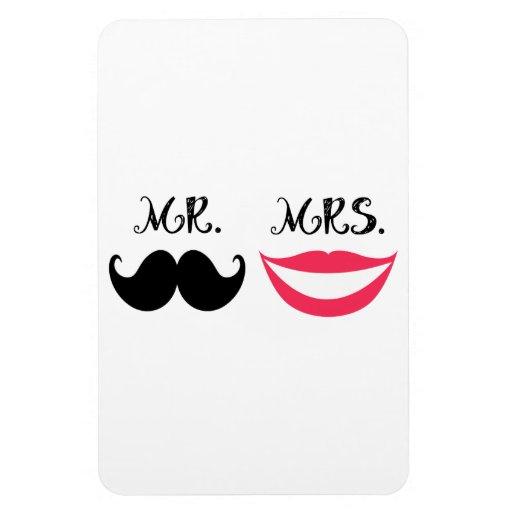 Trendy Handlebar Mustache Mr. & Mrs. Vinyl Magnet