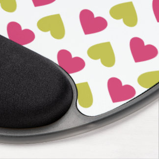 Trendy Heart Pattern   Cute Pink And Green Hearts Gel Mouse Pad