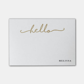 Trendy Hello Personalized Post It Notes