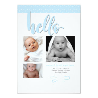 Trendy Hello Photo Birth Announcement