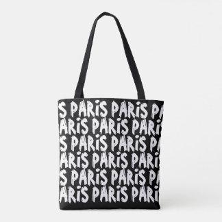 Trendy hispter paris tote bag | Black and white