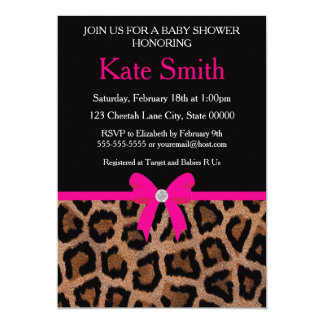 Trendy Hot Pink and Black Leopard Bow Baby Shower Card