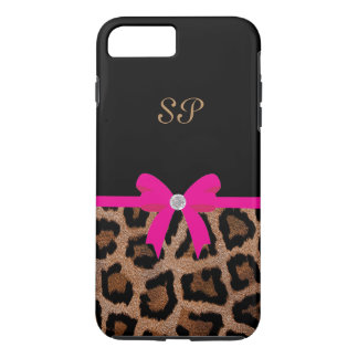 Trendy Hot Pink and Black Leopard Bow Monogram iPhone 8 Plus/7 Plus Case