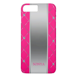 Trendy Hot Pink And Silver Geometric Shapes iPhone 8 Plus/7 Plus Case