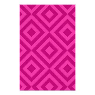 Trendy Hot Pink Diamond Pattern Stationery Design