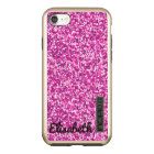 Trendy Hot pink printed glitter personalised Incipio DualPro Shine iPhone 8/7 Case