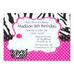 Trendy Hot Pink & Zebra Cupcake Birthday Party 13 Cm X 18 Cm Invitation Card