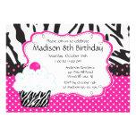 Trendy Hot Pink & Zebra Cupcake Birthday Party Invitation