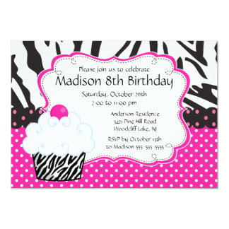 "Trendy Hot Pink & Zebra Cupcake Birthday Party 5"" X 7"" Invitation Card"