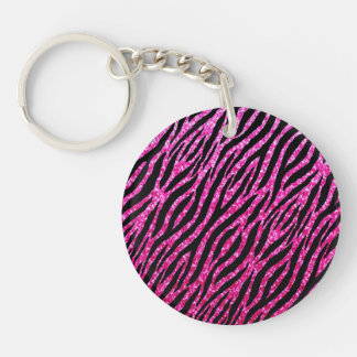 Trendy Hot Pink Zebra Print Glitz Glitter Sparkles Double-Sided Round Acrylic Key Ring