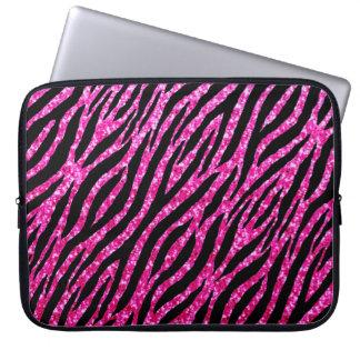 Trendy Hot Pink Zebra Print Glitz Glitter Sparkles Laptop Sleeve