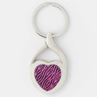 Trendy Hot Pink Zebra Print Glitz Glitter Sparkles Keychain
