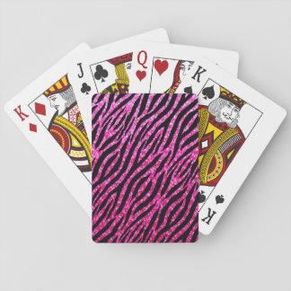 Trendy Hot Pink Zebra Print Glitz Glitter Sparkles Poker Deck