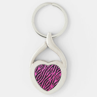 Trendy Hot Pink Zebra Print Glitz Glitter Sparkles Silver-Colored Twisted Heart Key Ring