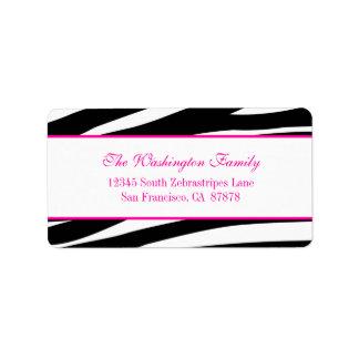 Trendy hot pink zebra stripes address label