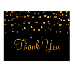 Trendy Inexpensiv Gold Glitter Black Thank You Postcard