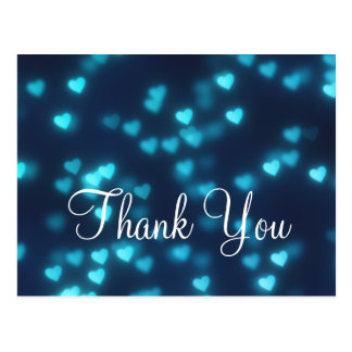 Trendy Inexpensive Blue Love Glitter Thank You Postcard
