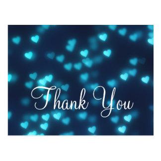 Trendy Inexpensive Blue Love Glitter Thank You Postcard