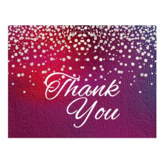 Trendy Inexpensive White  Glitter Black Thank You Postcard