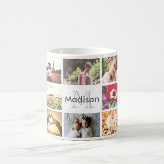 Trendy insta photo mosaic template with monogram coffee mug