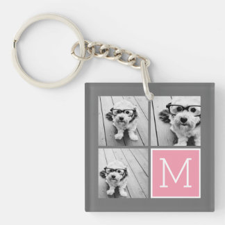 Trendy Instagram Photo Collage Custom Monogram Key Ring