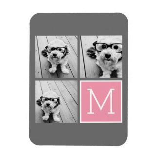 Trendy Instagram Photo Collage Custom Monogram Rectangular Photo Magnet