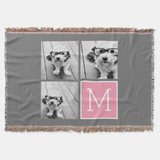 Trendy Instagram Photo Collage Custom Monogram Throw Blanket