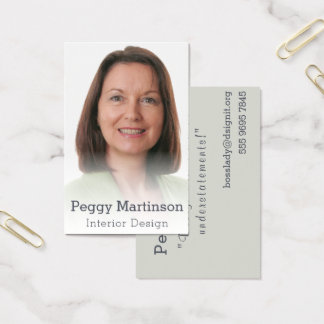 Trendy Interior Design Misty Photo Template Business Card